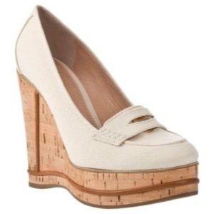 Chloe platform penny loafer wedges